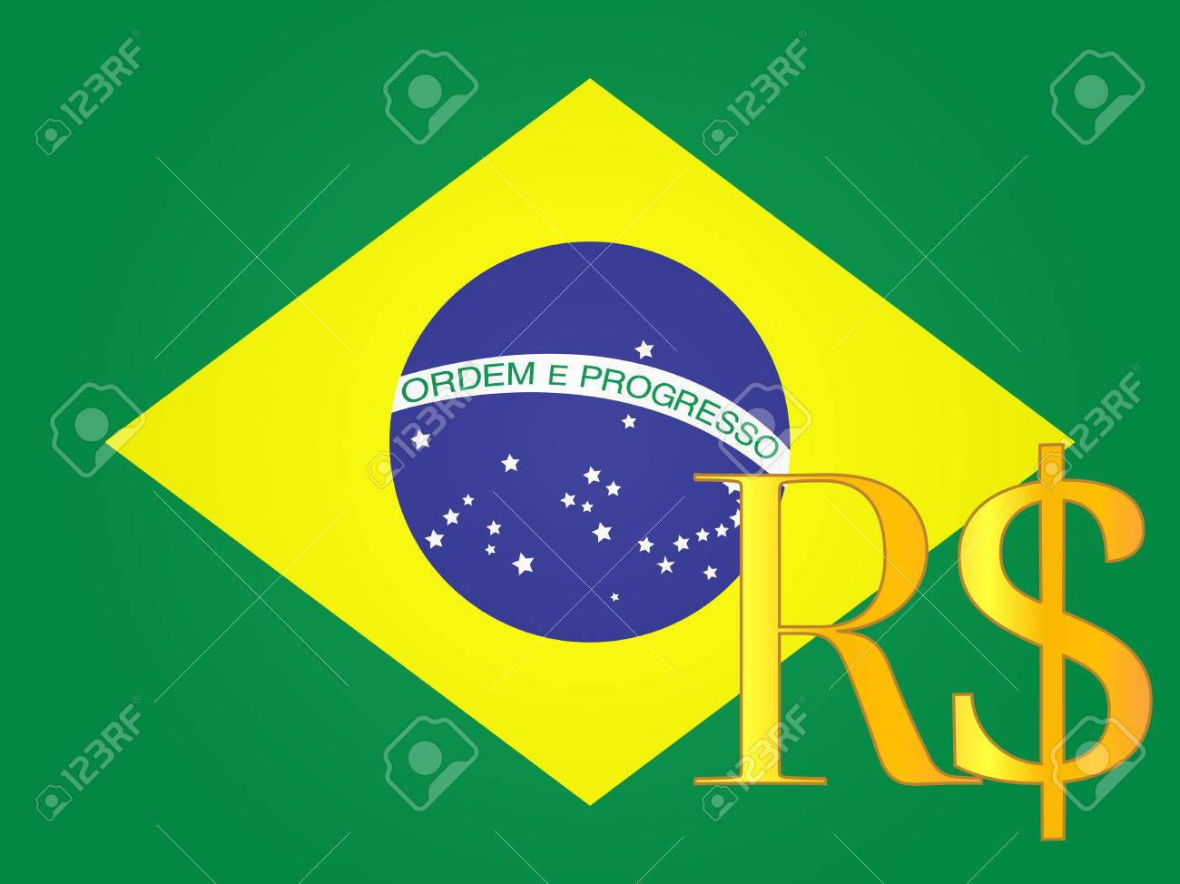 Real Currency Sign Over The Brazilian Flag Eps 10 Royalty Free