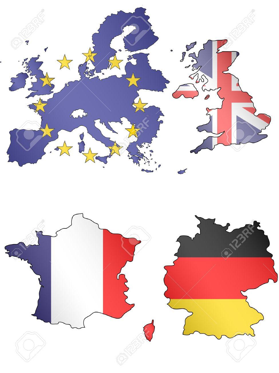 Deutschland Frankreich Karte.Stock Photo