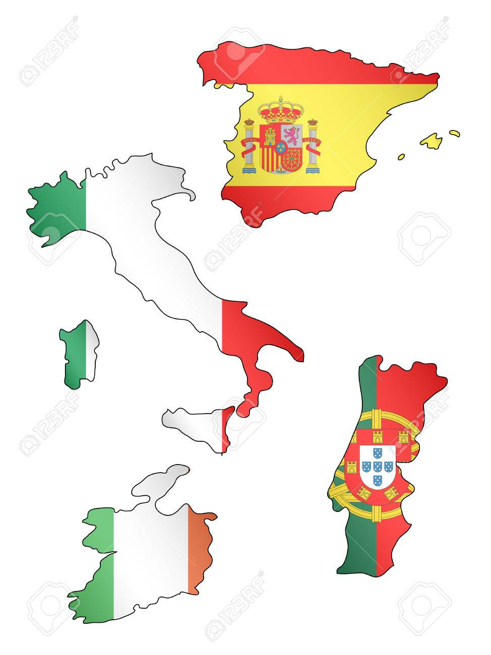 Europe Maps With Spain Portugal Italy And Ireland Flags Royalty - Portugal italy map