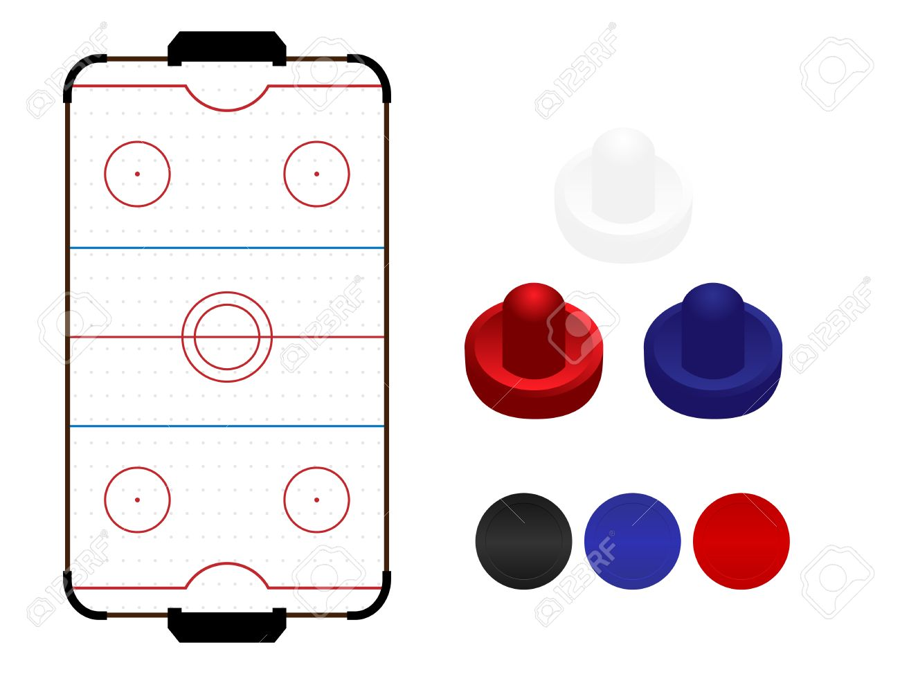 Bon Air Hockey Table With Mallets And Pucks Stock Vector   35030126