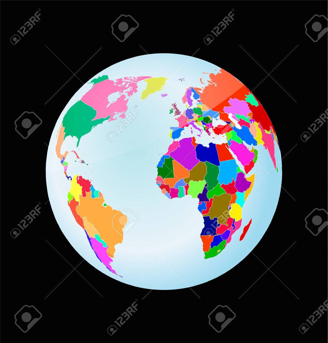 3d globe with political world map toy style earth sphere royalty 3d globe with political world map toy style earth sphere stock vector 74685625 gumiabroncs Gallery