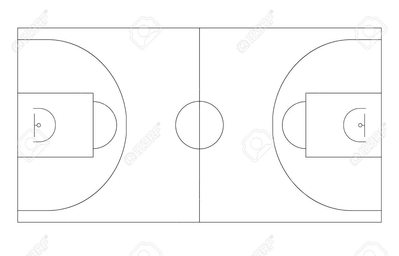 Basketball Field Outline Plan Basketball Platform Vector Template ...