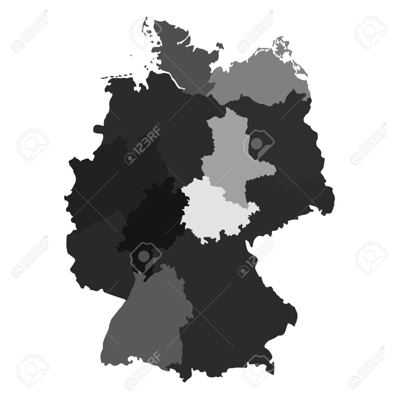 germany map divided on regions for infographic stock vector 75490619