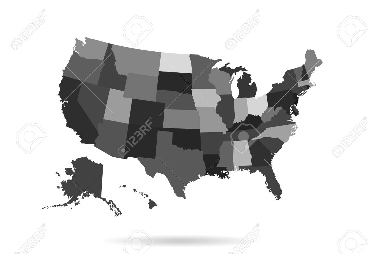 Usa States Map Isolated For Infographic Blank Usa Map Template ...