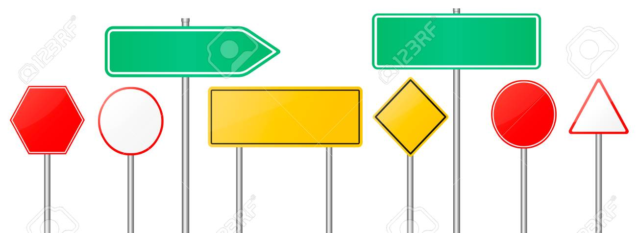 road signs vector red and yellow empty banners road sign mock rh 123rf com road sign vector free road sign vector image