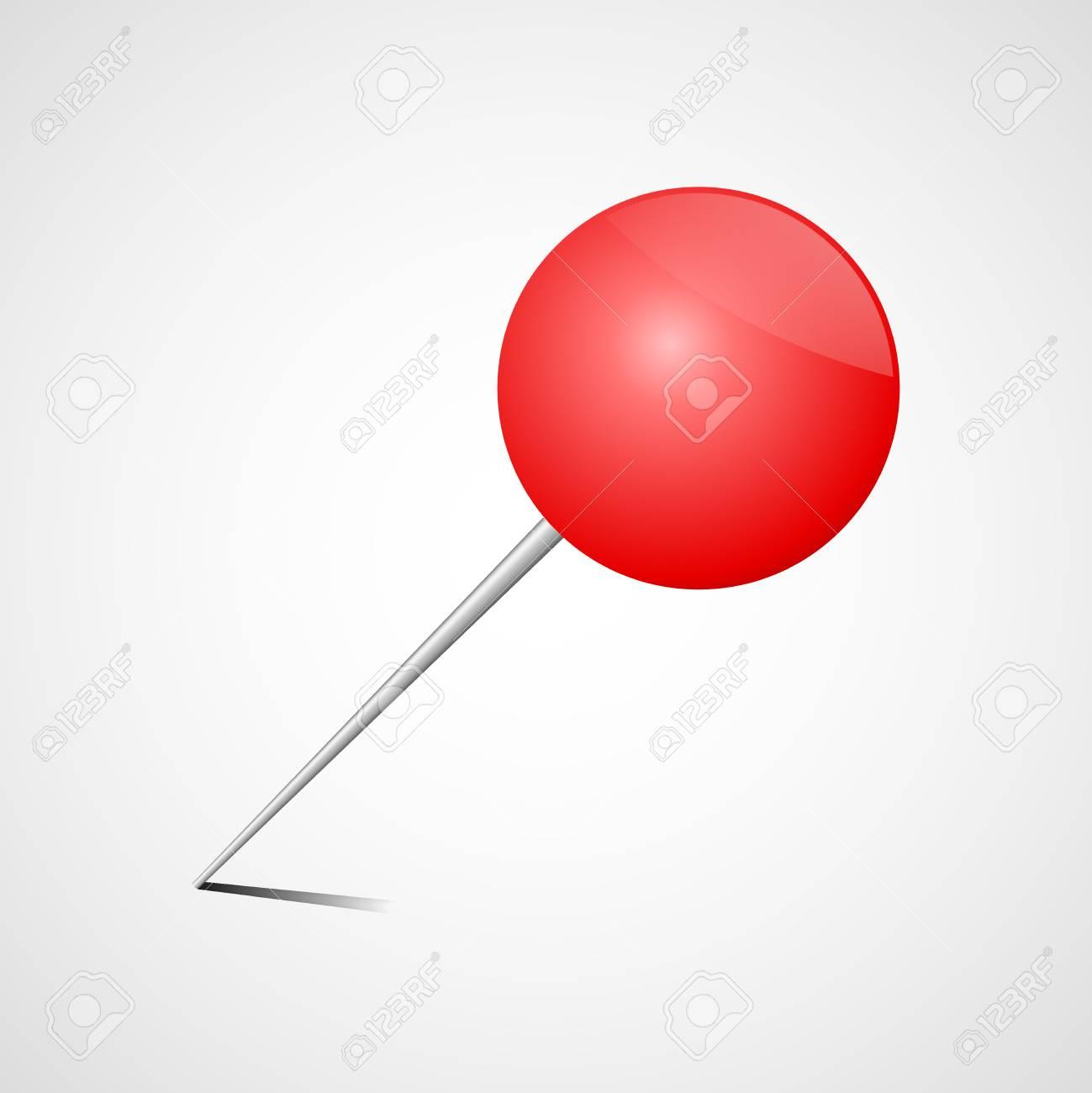 Pin rouge de bureau épingle à dessin réaliste.