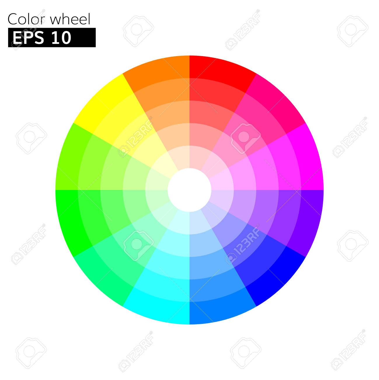 Color Wheel 12 Colors Vector With 20 Percent Step Color Circle