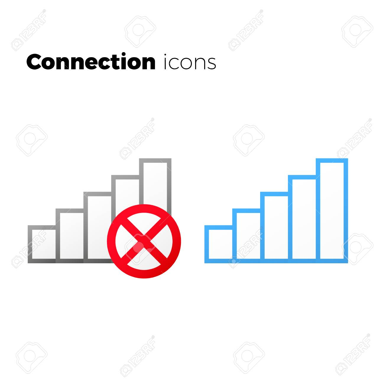 internet access icon set no connection symbol wifi wireless connection  symbol Stock Vector - 82029089