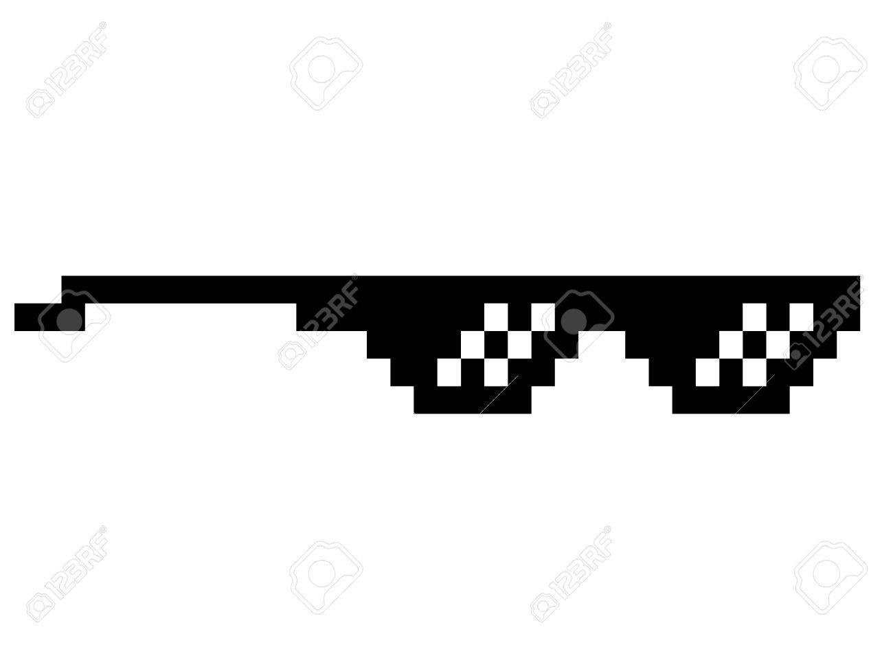 Modern Style In Art Trend Meme Pixel Black Thug Life Like Glasses NOX8n0wPk