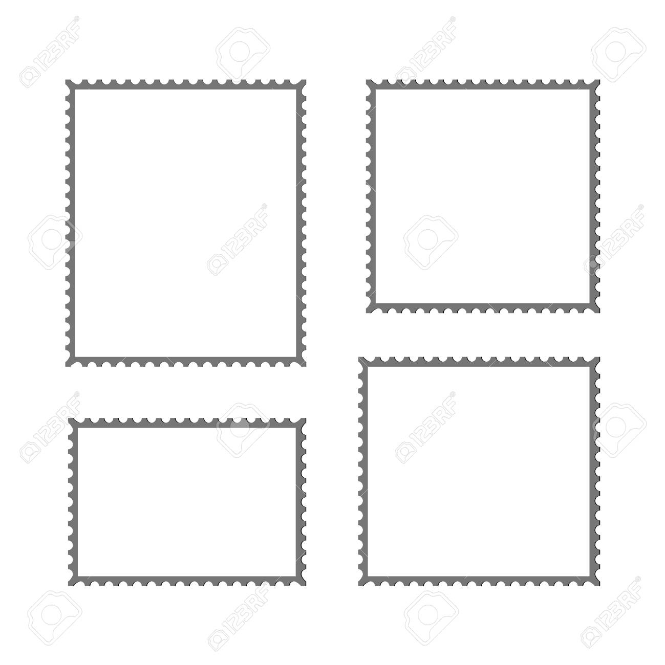 Postage Stamp Vector Blank Mockup Square Template Post Border Stock