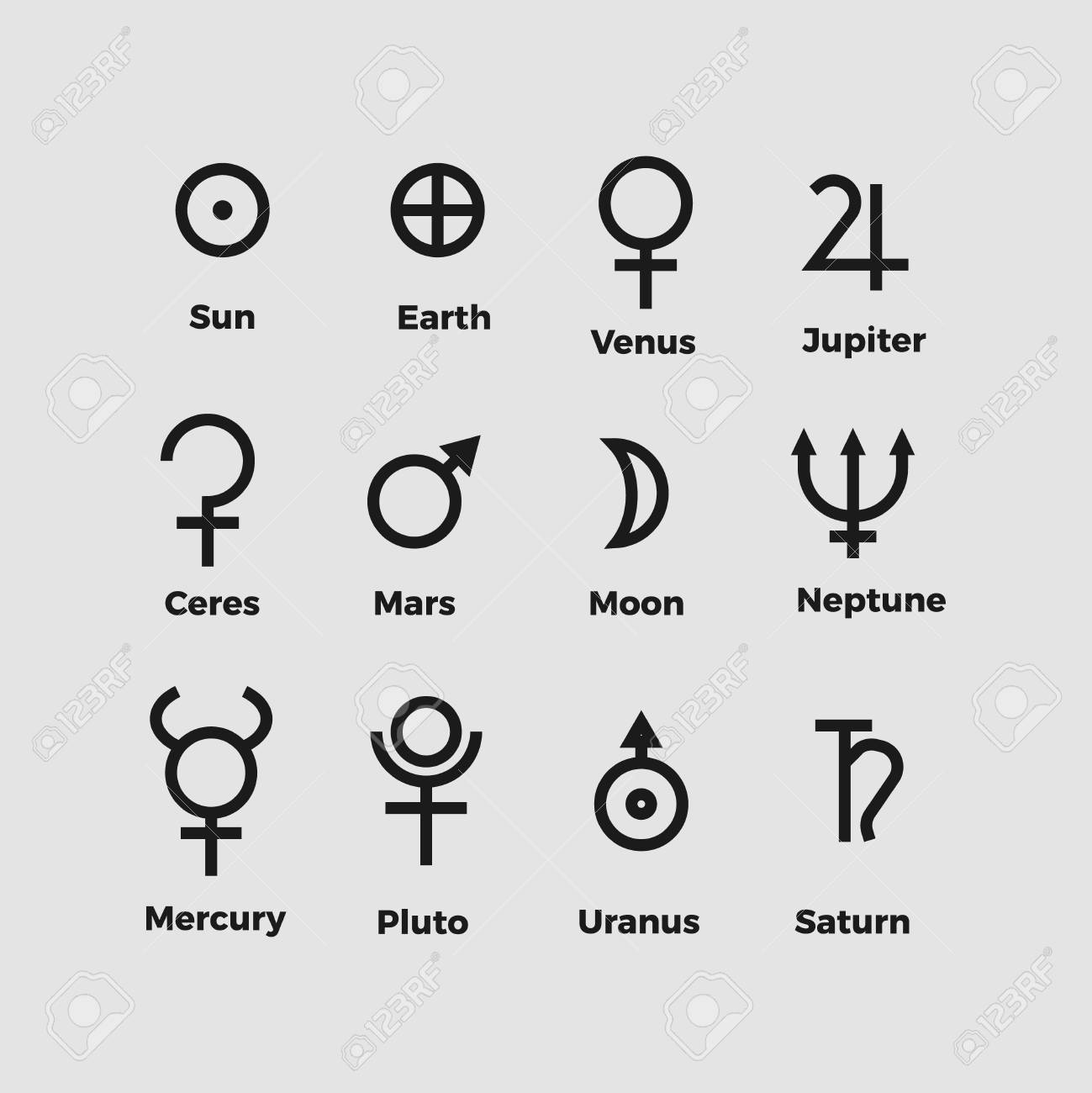 Planet Symbols Vector Alchemy Ancient Vector Icons Royalty Free
