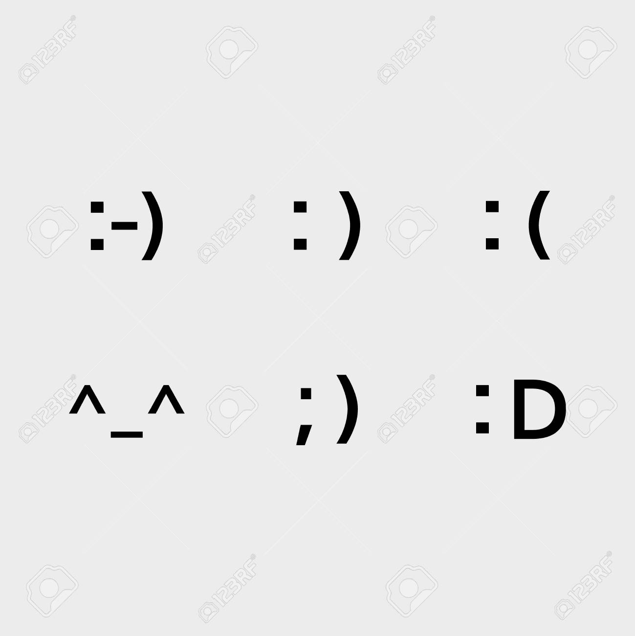 Font Emoji Icons Vector Set Text Smile Symbols Royalty Free Cliparts