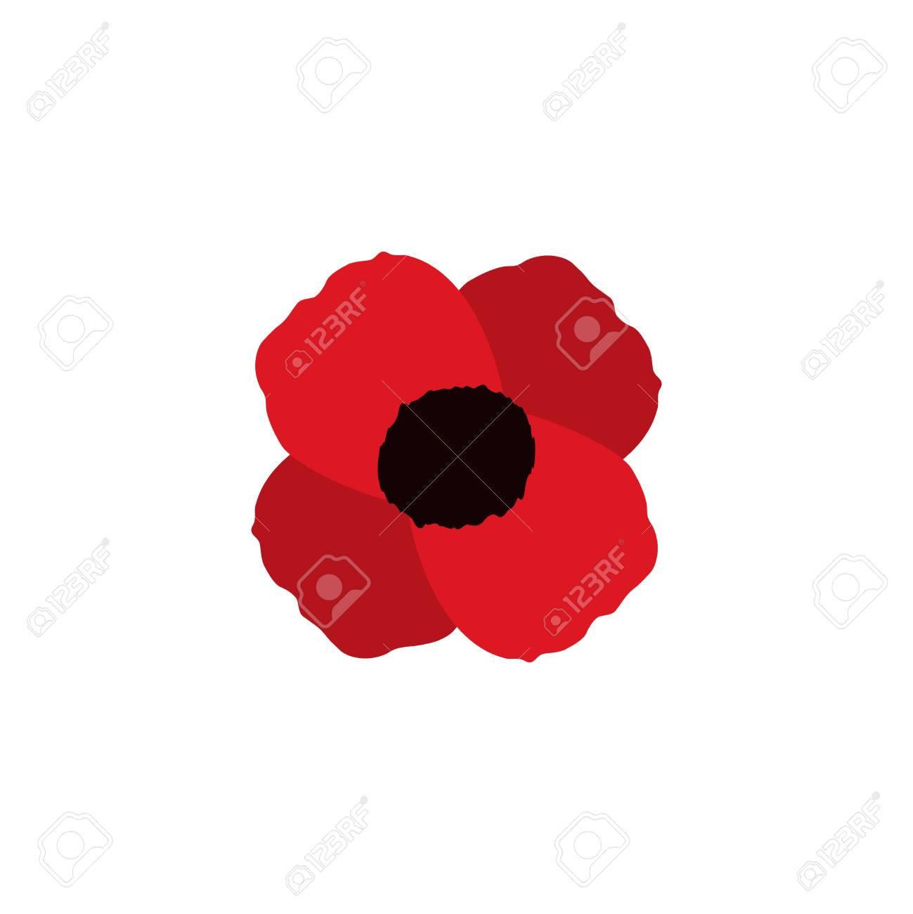 Red Poppy Vector Flower Memorial Symbol World War Icon Royalty Free