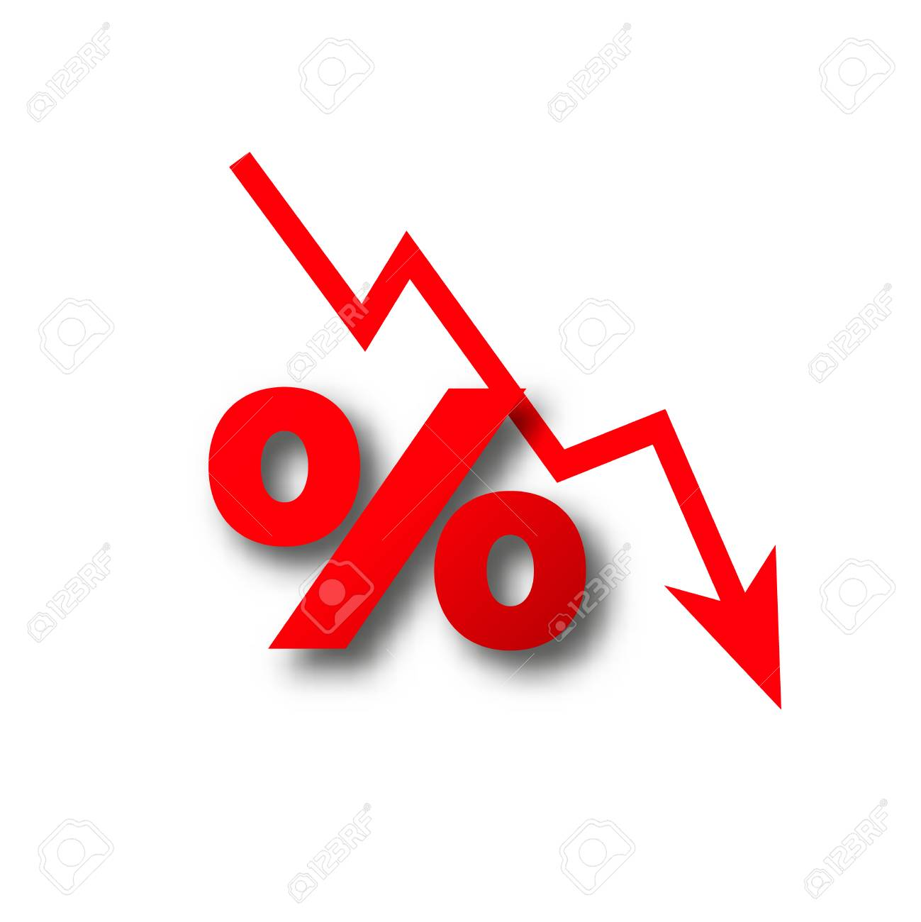 money loss more than zero percent fall vector - 107308209