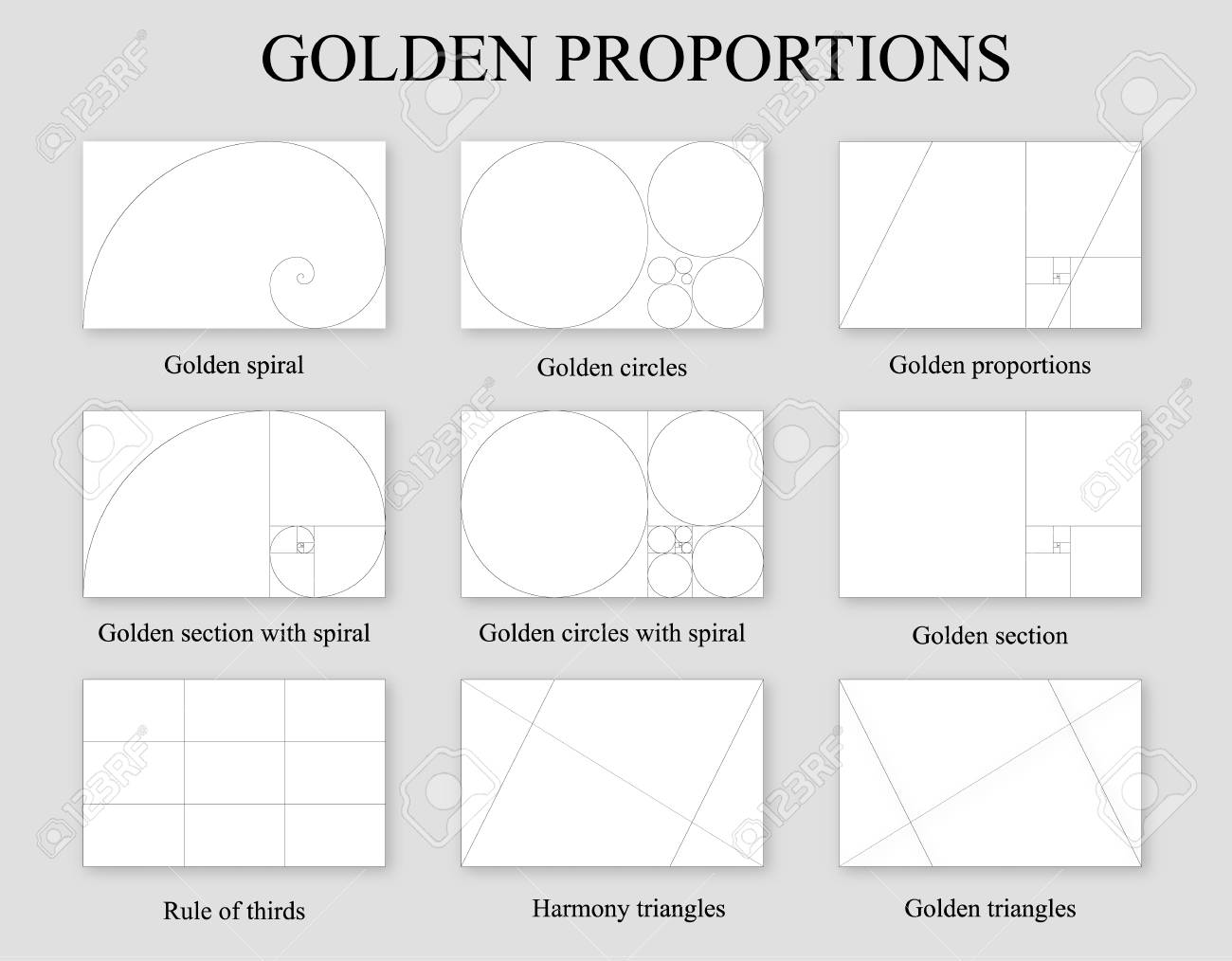 Golden proportions set . Golden section ration , rule of thirds and Fibonacci spiral - 110918825