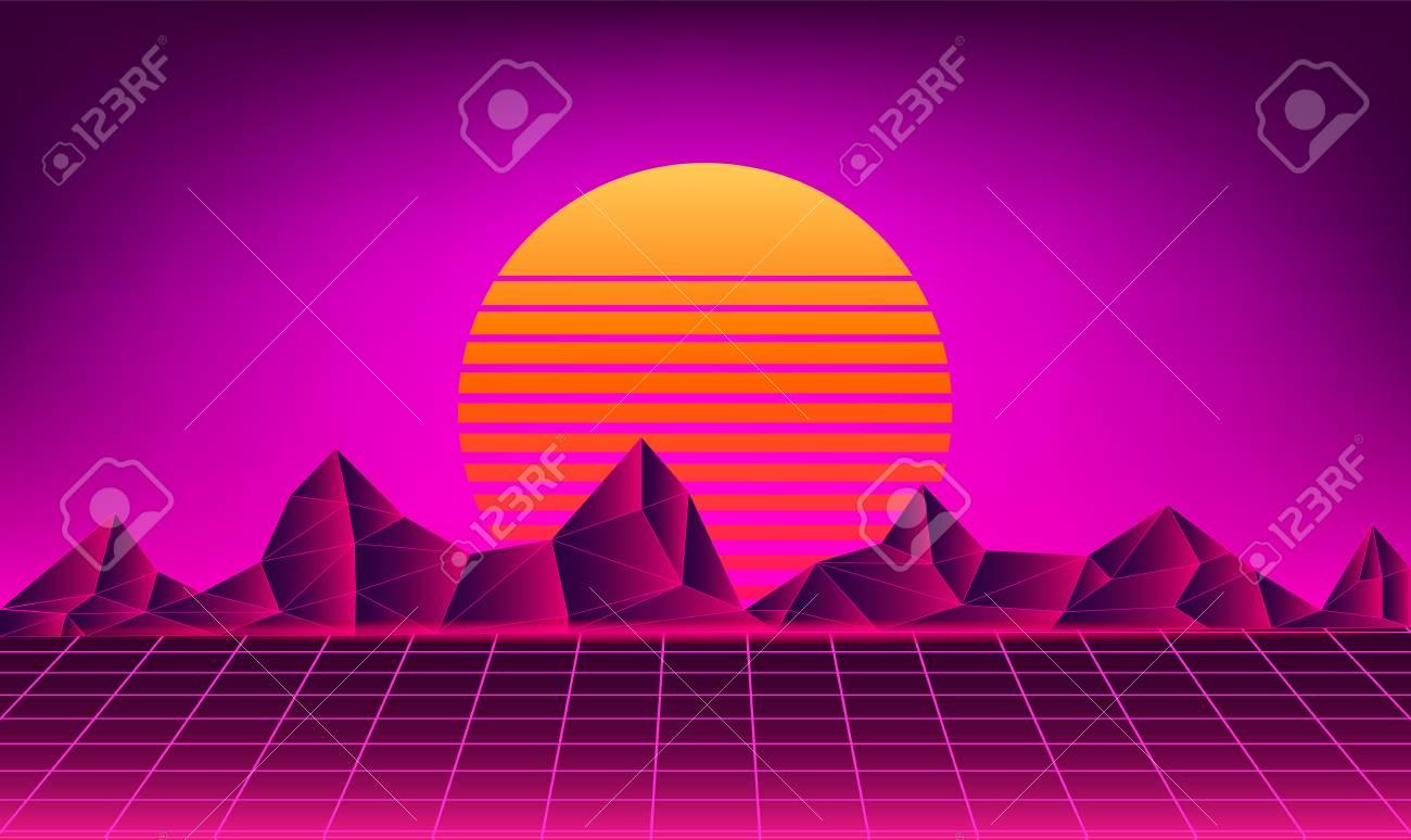 Retro neon sun background   Vector sunset 80s music poster