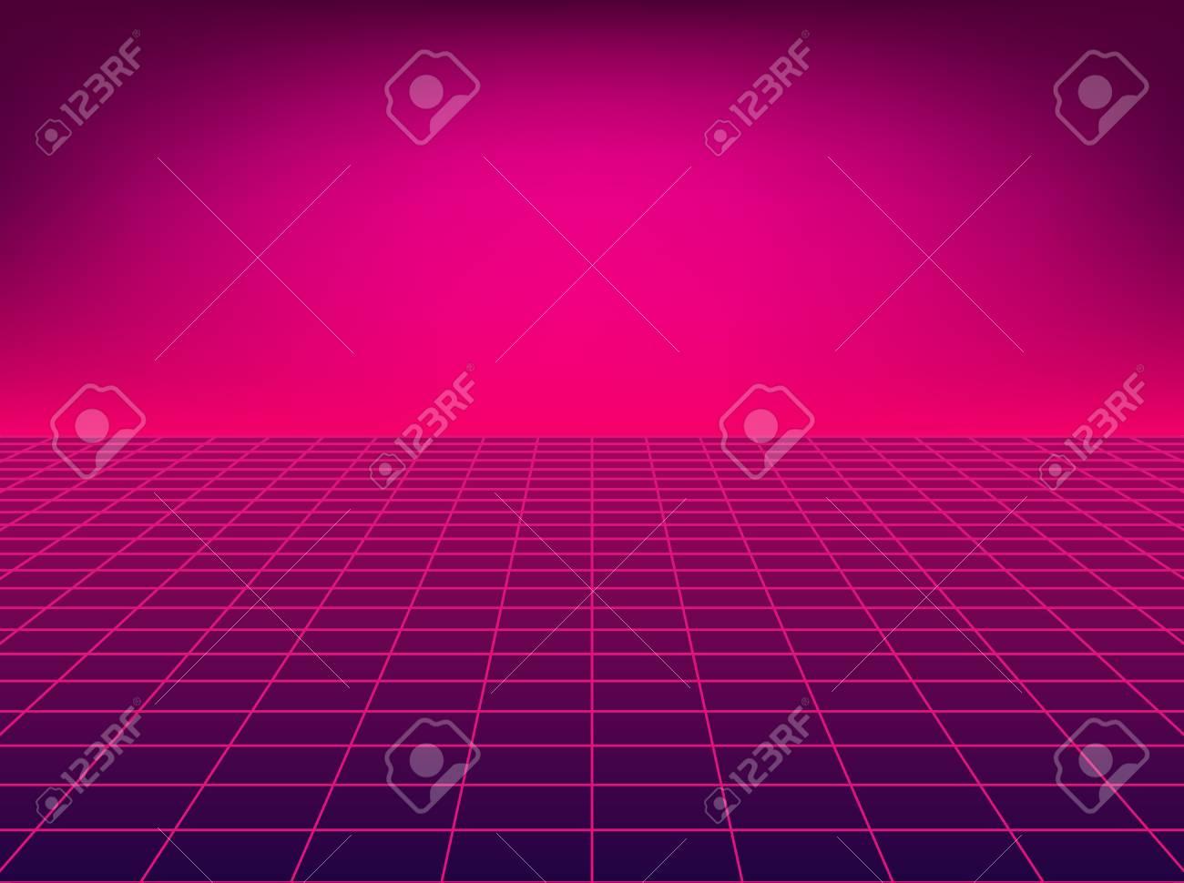 Neon perspective grid. Retro floor background in 80s style. - 114438273
