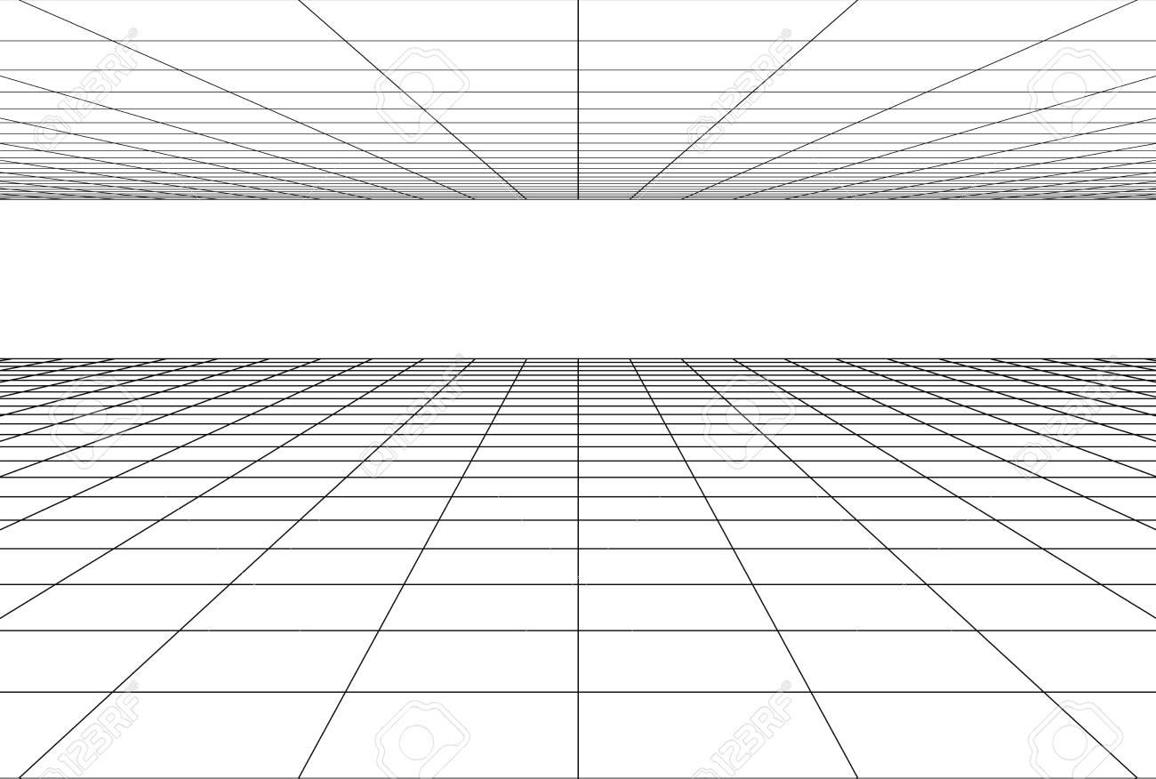 perspective grid floor background . 3d geometric backdrop - 115347711