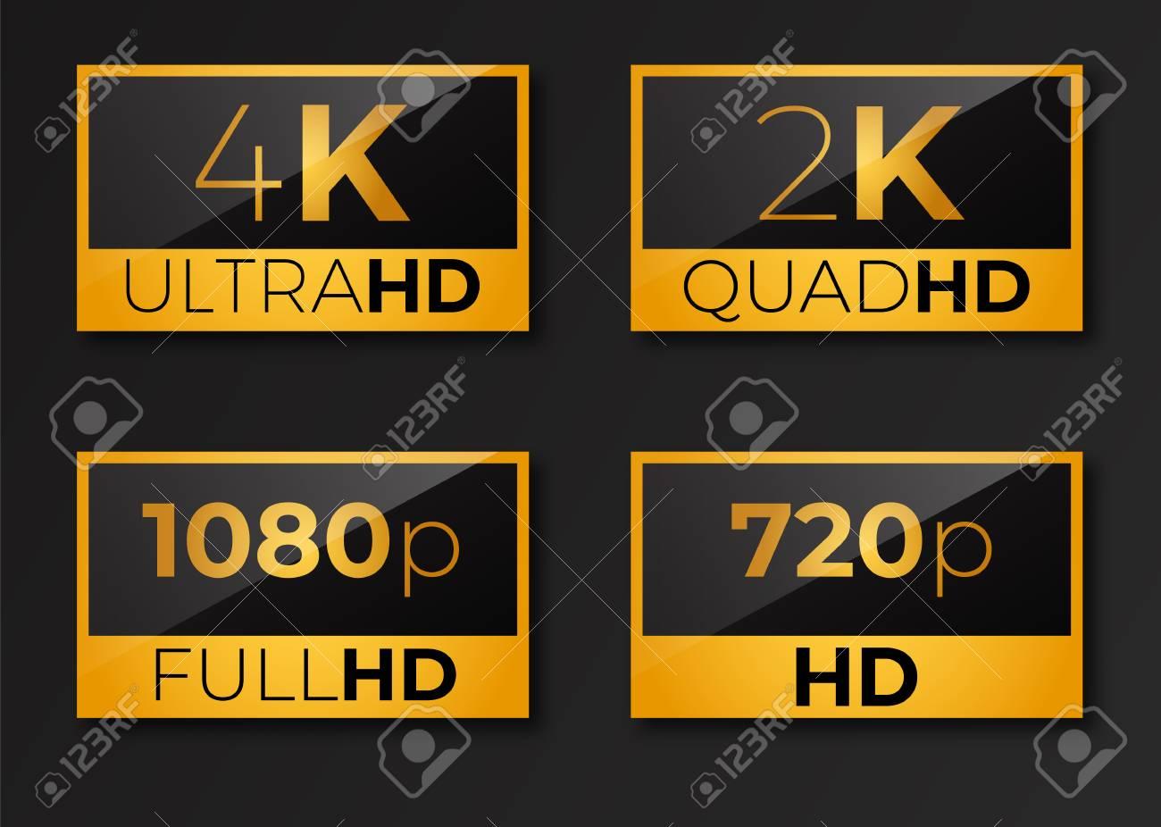 4k ultrahd , 2k quadhd , 1080 fullhd and 720 hd dimensions of video - 123594307