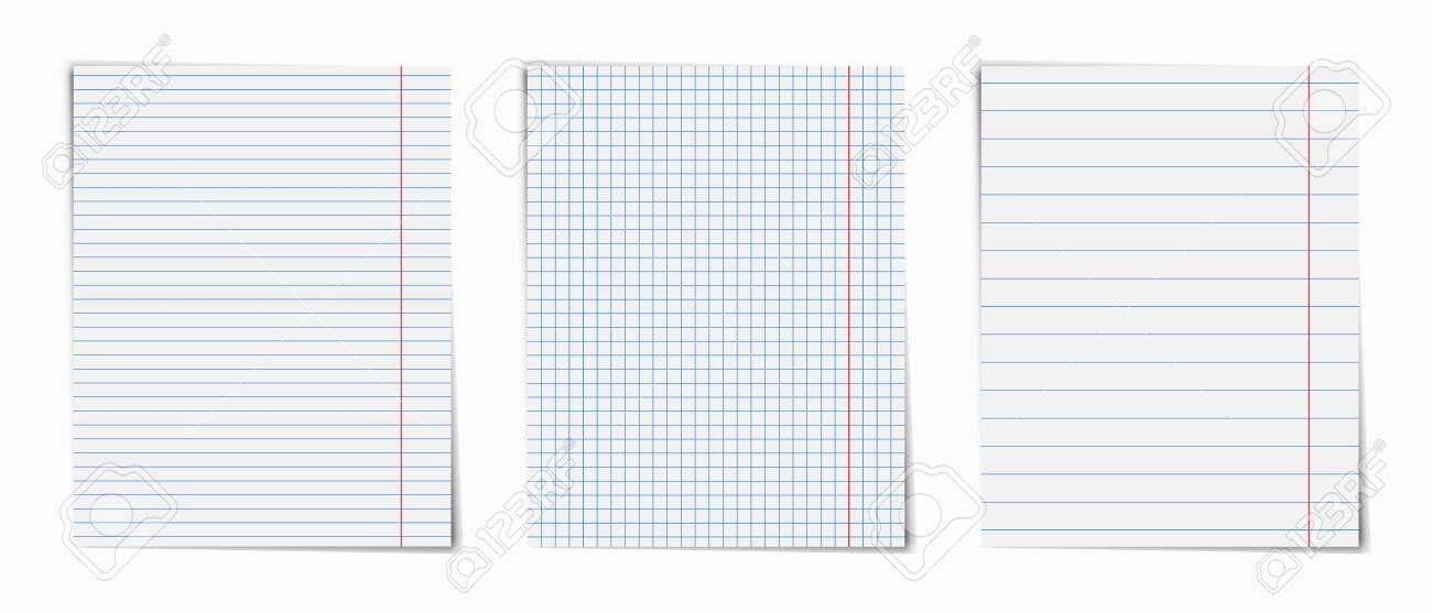 Notebook pages set . Notepad blank paper sheet . - 123594628