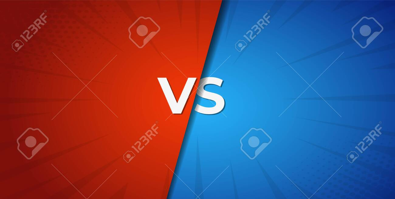 Vs versus red and blue battle background . Boxing competition . - 123594854