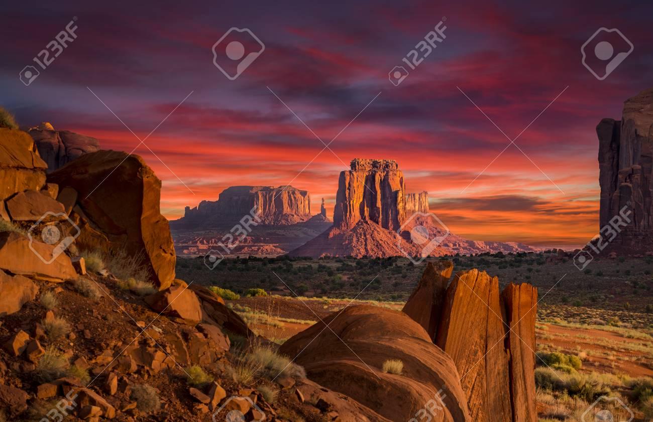 Spectacular Sunrise in Monument Valley - 88175914