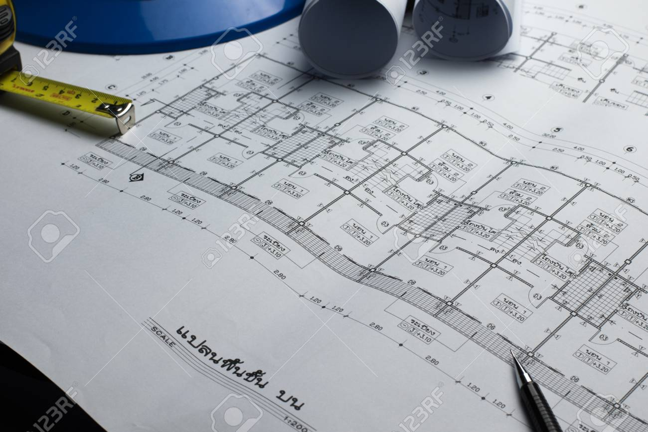 Architectural plans project drawing with blueprints rolls fotos architectural plans project drawing with blueprints rolls foto de archivo 68224562 malvernweather Images