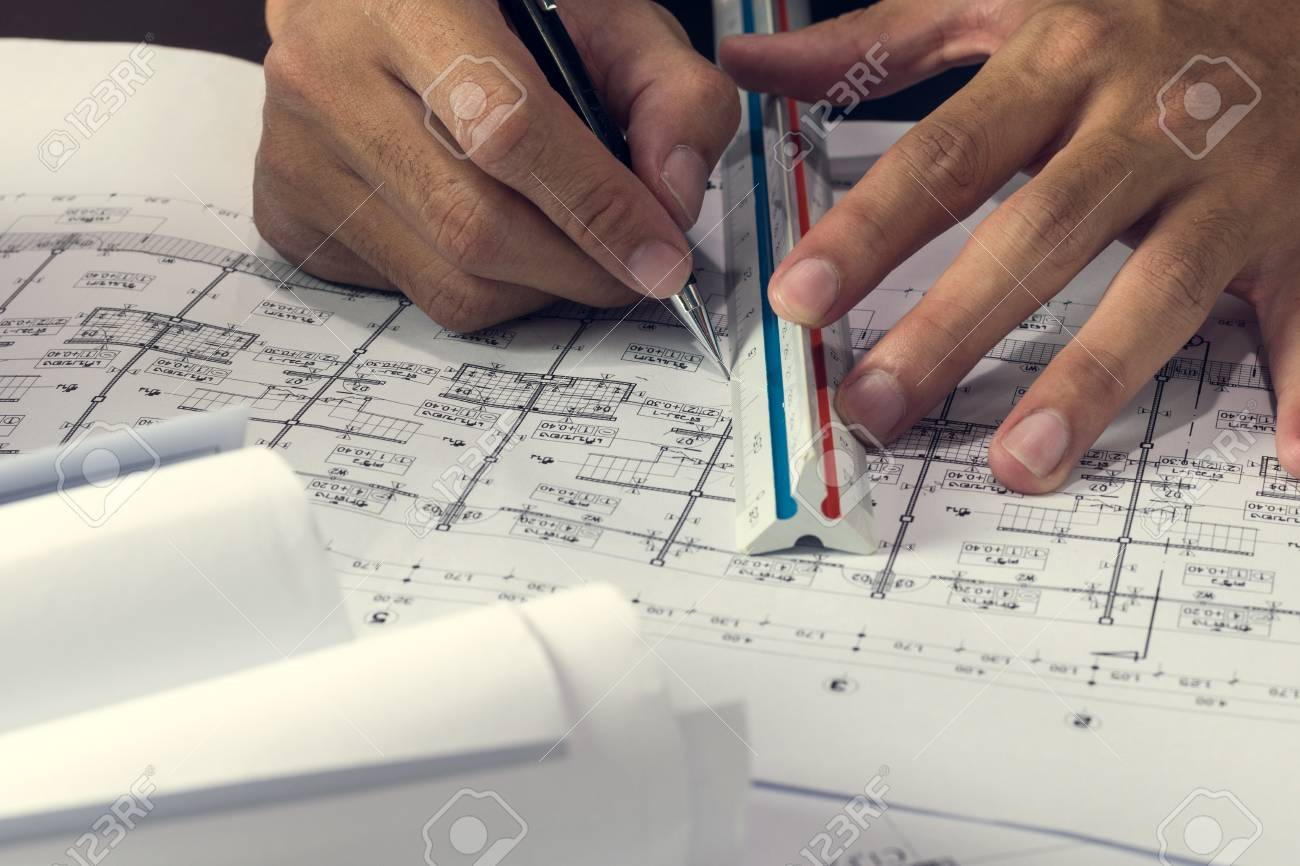 Engineering diagram blueprint paper drafting project sketch engineering diagram blueprint paper drafting project sketch architecturalselective focus stock photo 74625365 malvernweather Image collections