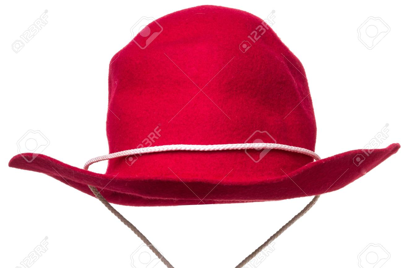 9e9be178cac4 Red Felt Cowboy Hat isolated over white background Stock Photo - 15998777
