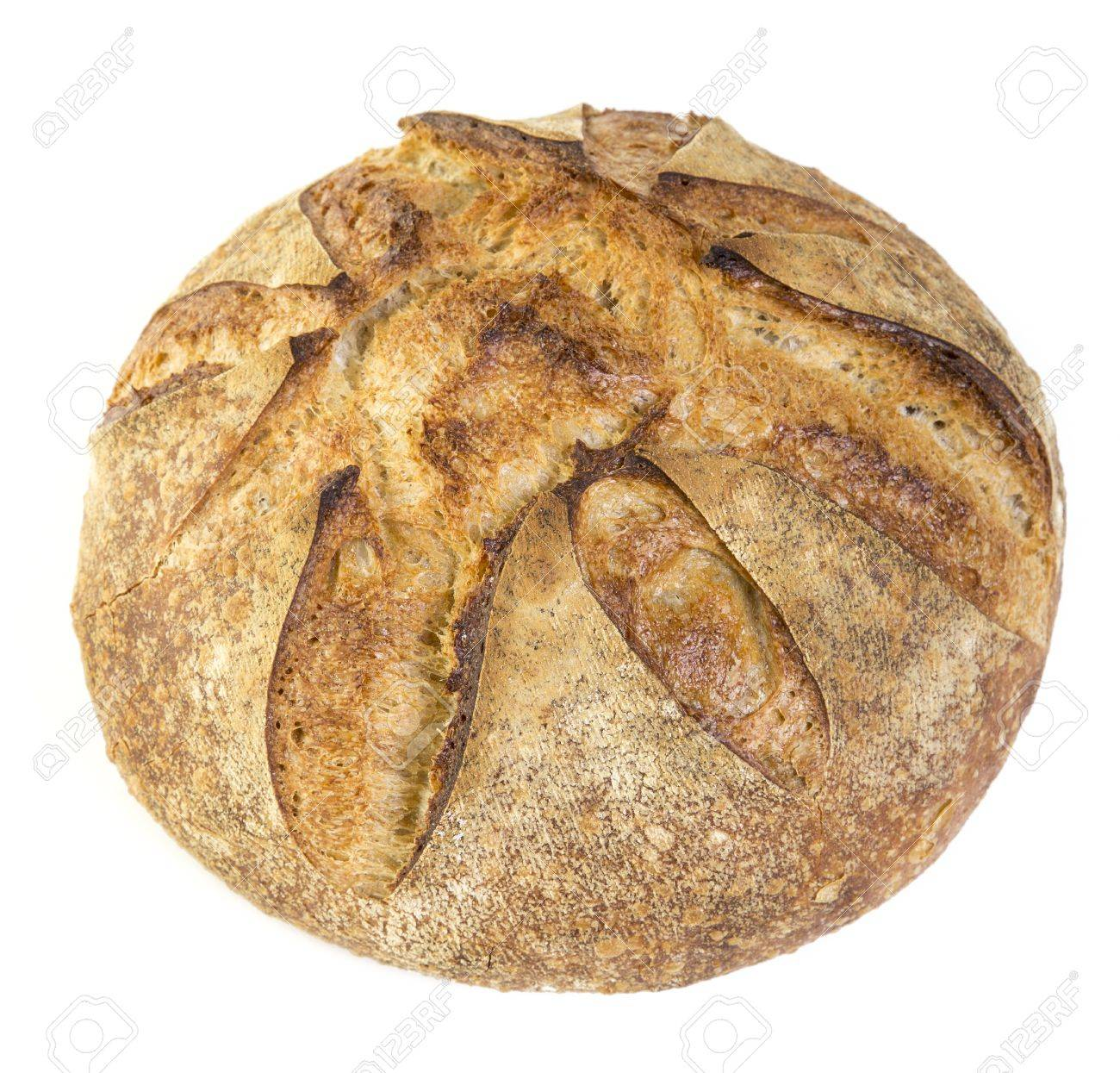 Fresh Baked Crusty Artisan Bread Over White Background Stock Photo