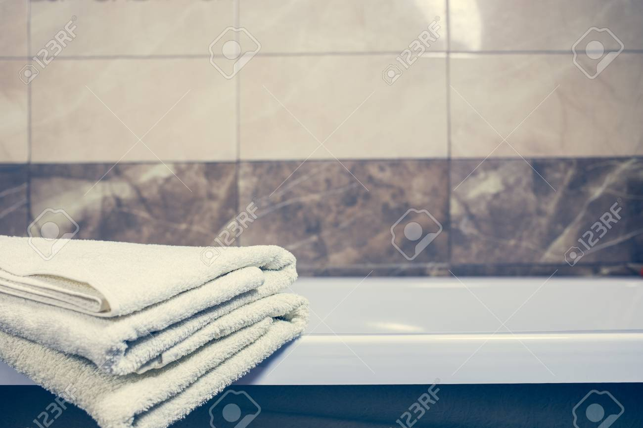 Blurred Bathroom Interior Background And White Spa Towels On.. Stock ...