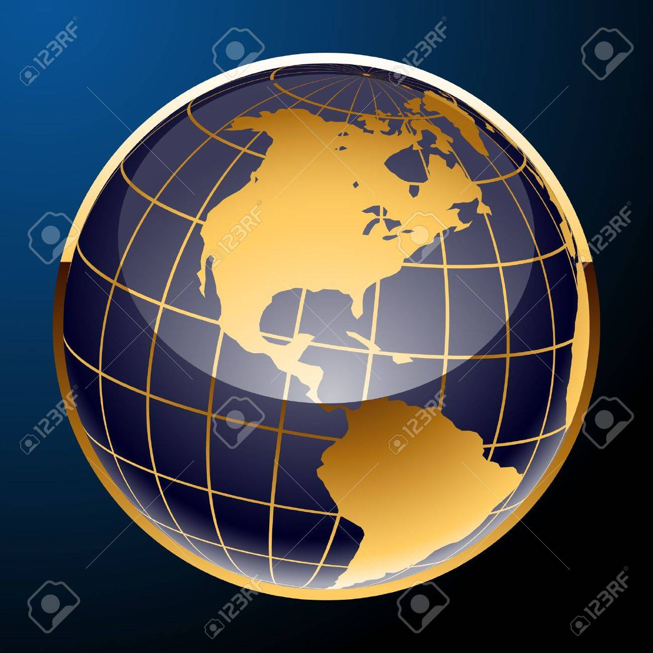 Glossy image of an earth. Golden and Blue Stock Vector - 10251283