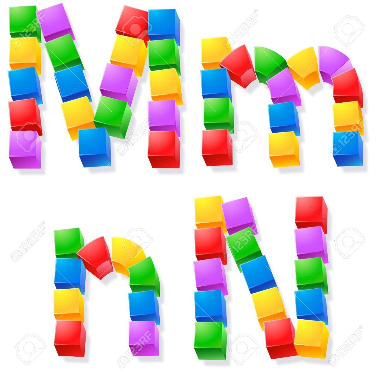 Alphabet of children s blocks  Vector illustration of funny cube font  Letters m n Stock Vector - 17292245