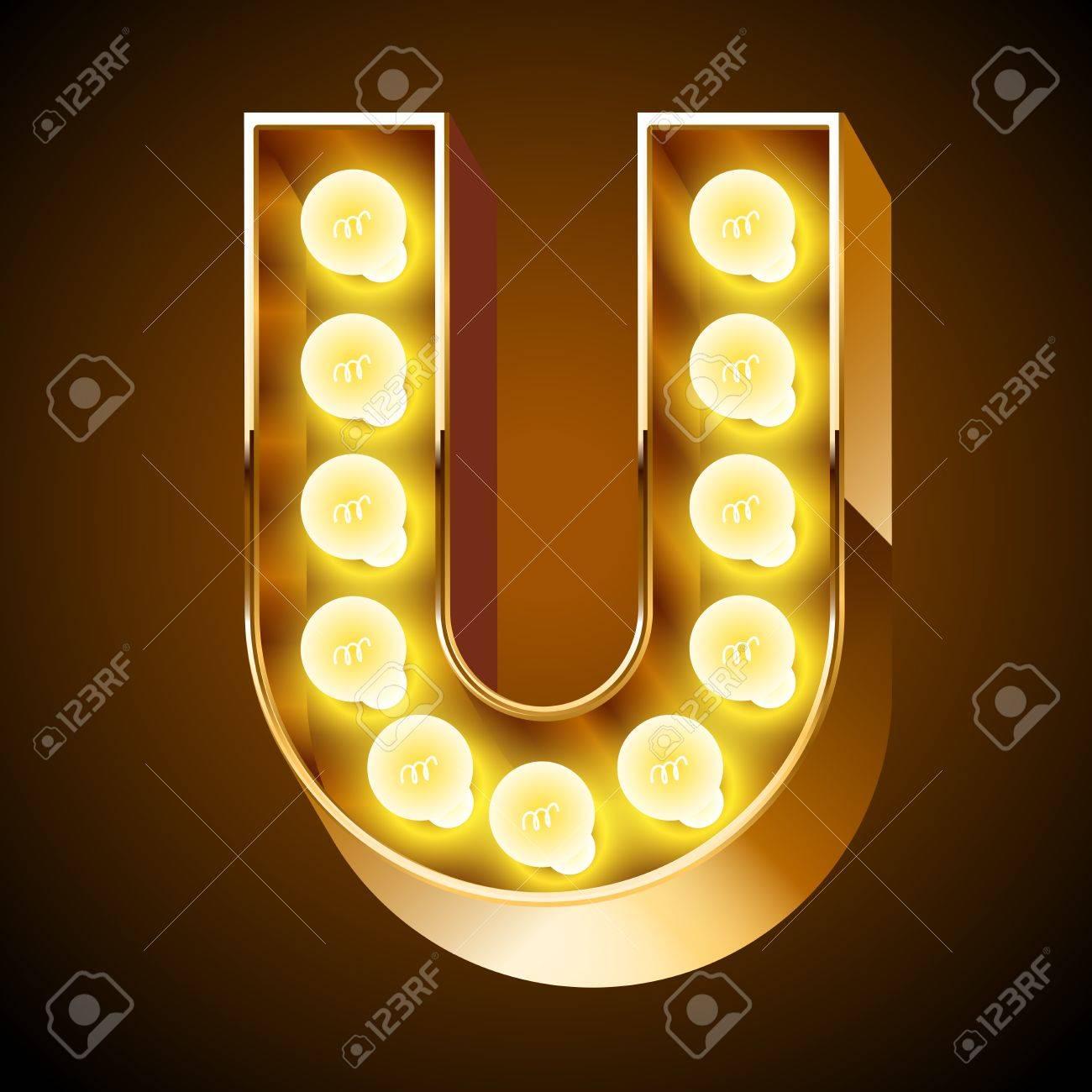 Old lamp alphabet for light board Letter U