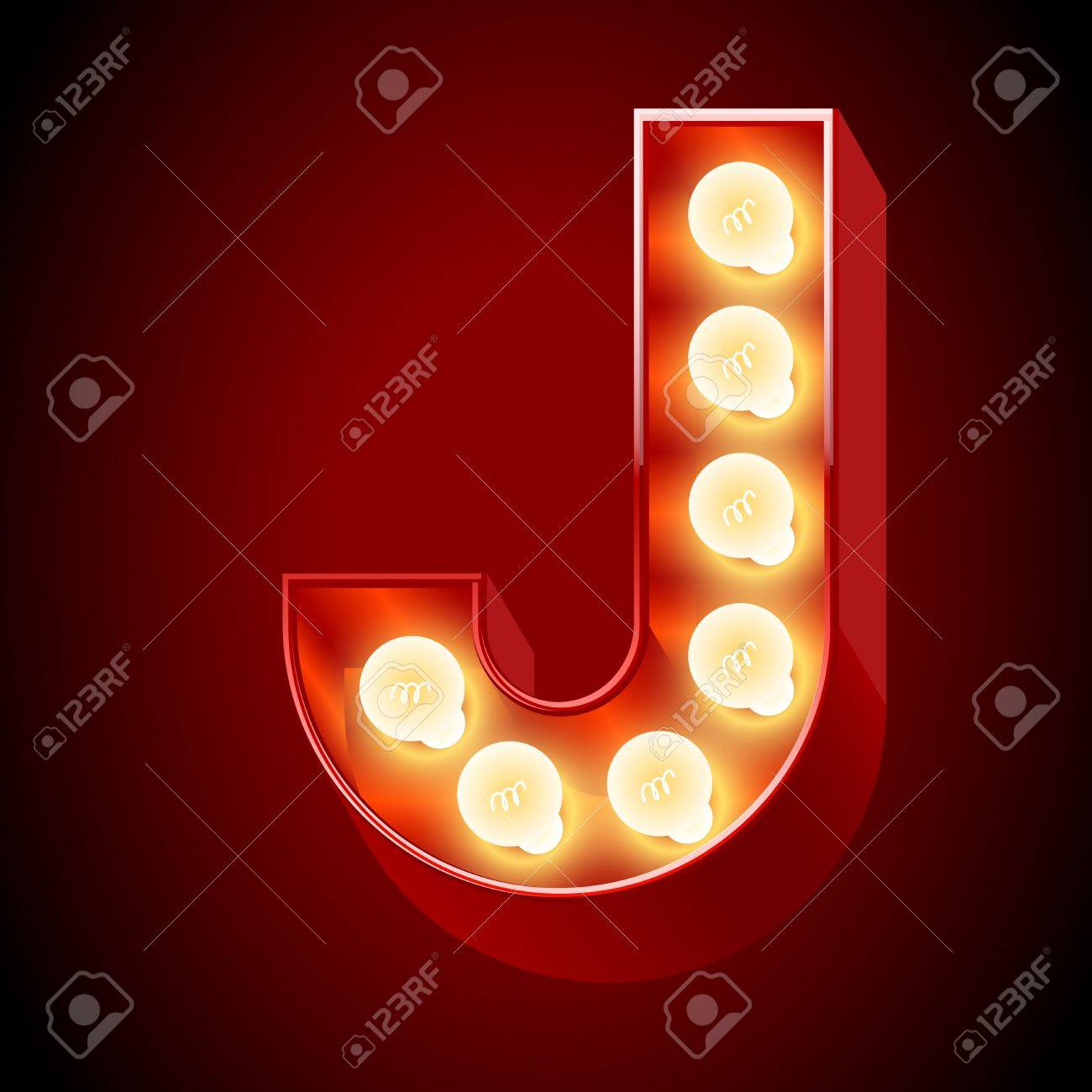 Old Lamp Alphabet For Light Board Letter J Royalty Free Cliparts