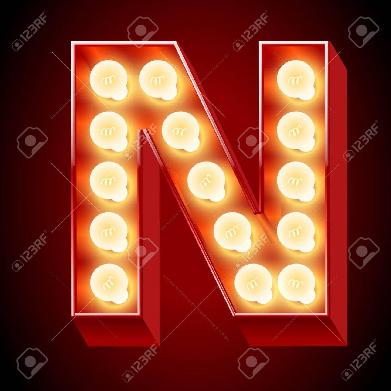 Old laNmp alphabet for light board  Letter N Stock Vector - 22207731