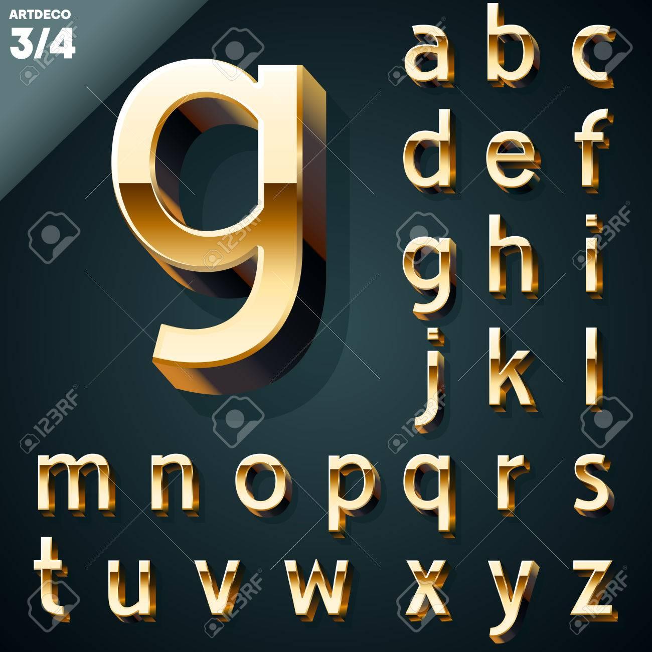 Vector illustration of golden 3D alphabet  Artdeco syle  Set Stock Vector - 22774073
