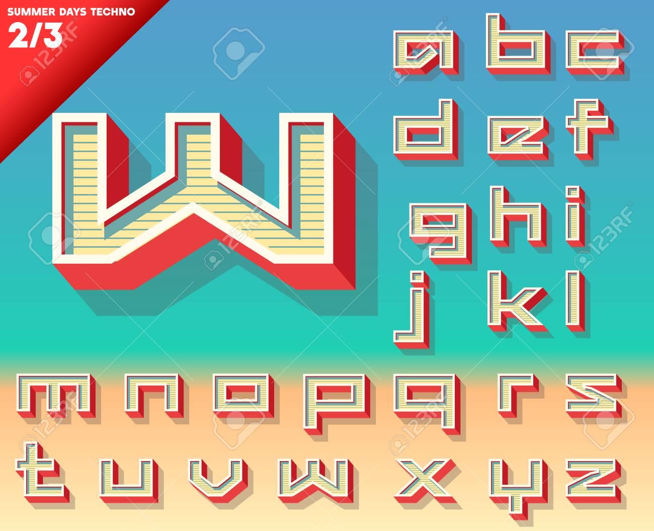 Vector retro alphabet for Summer typography design  Techno style  Small cases Stock Vector - 24078561