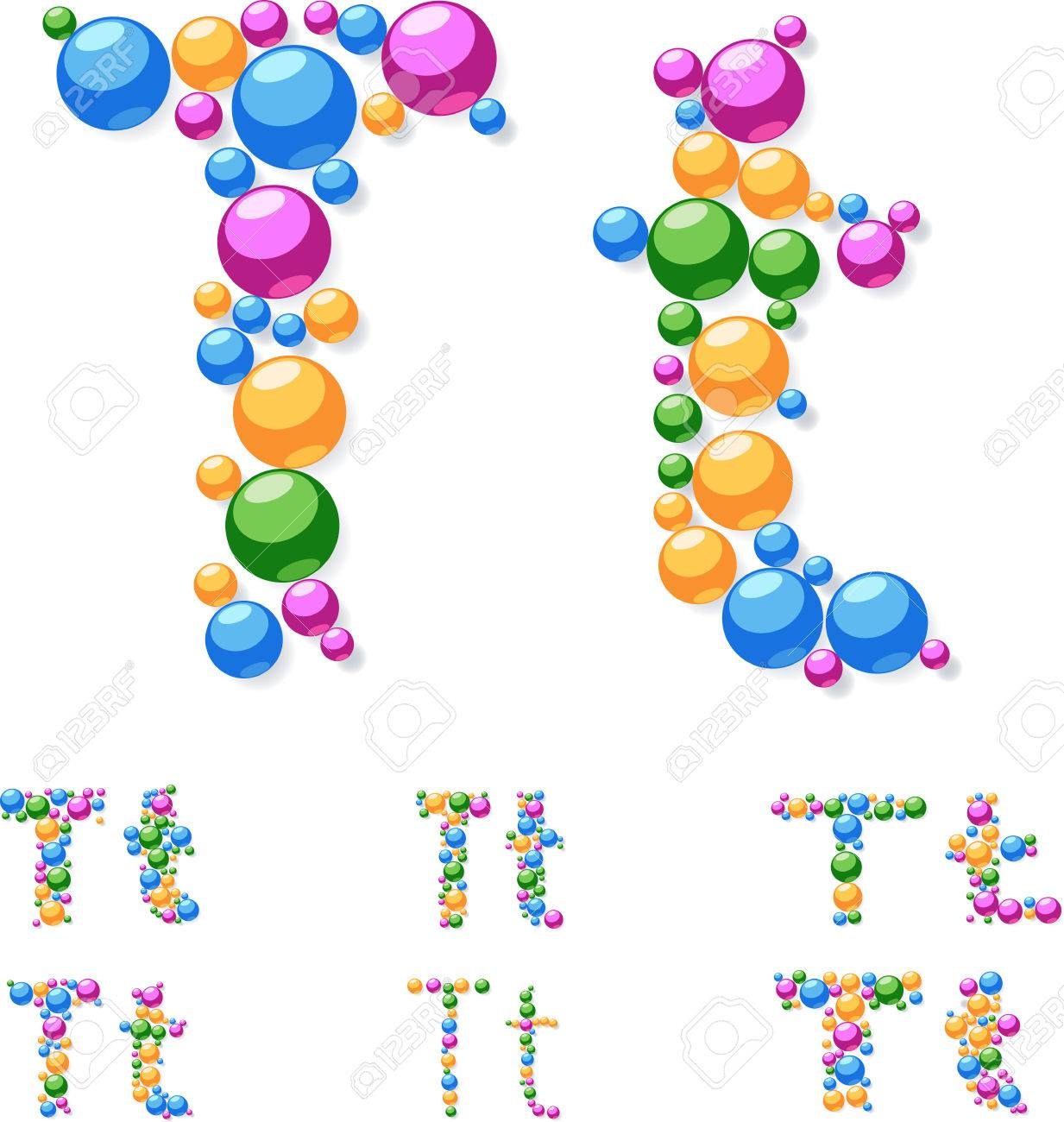 vector vector alphabet symbols of colorful bubbles or balls letter t