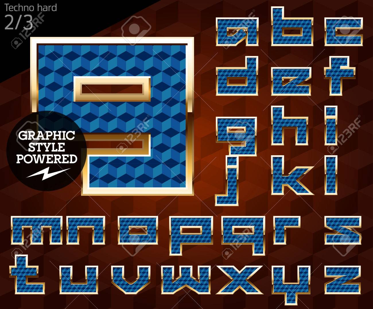 Shiny font of gold and diamond vector illustration Techno  File