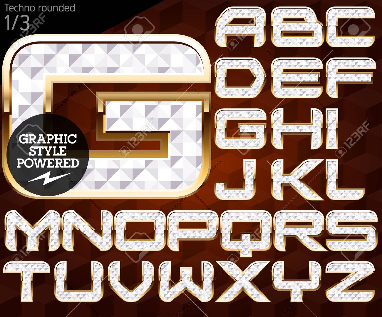 Shiny font of gold and diamond vector illustration  Techno rounded
