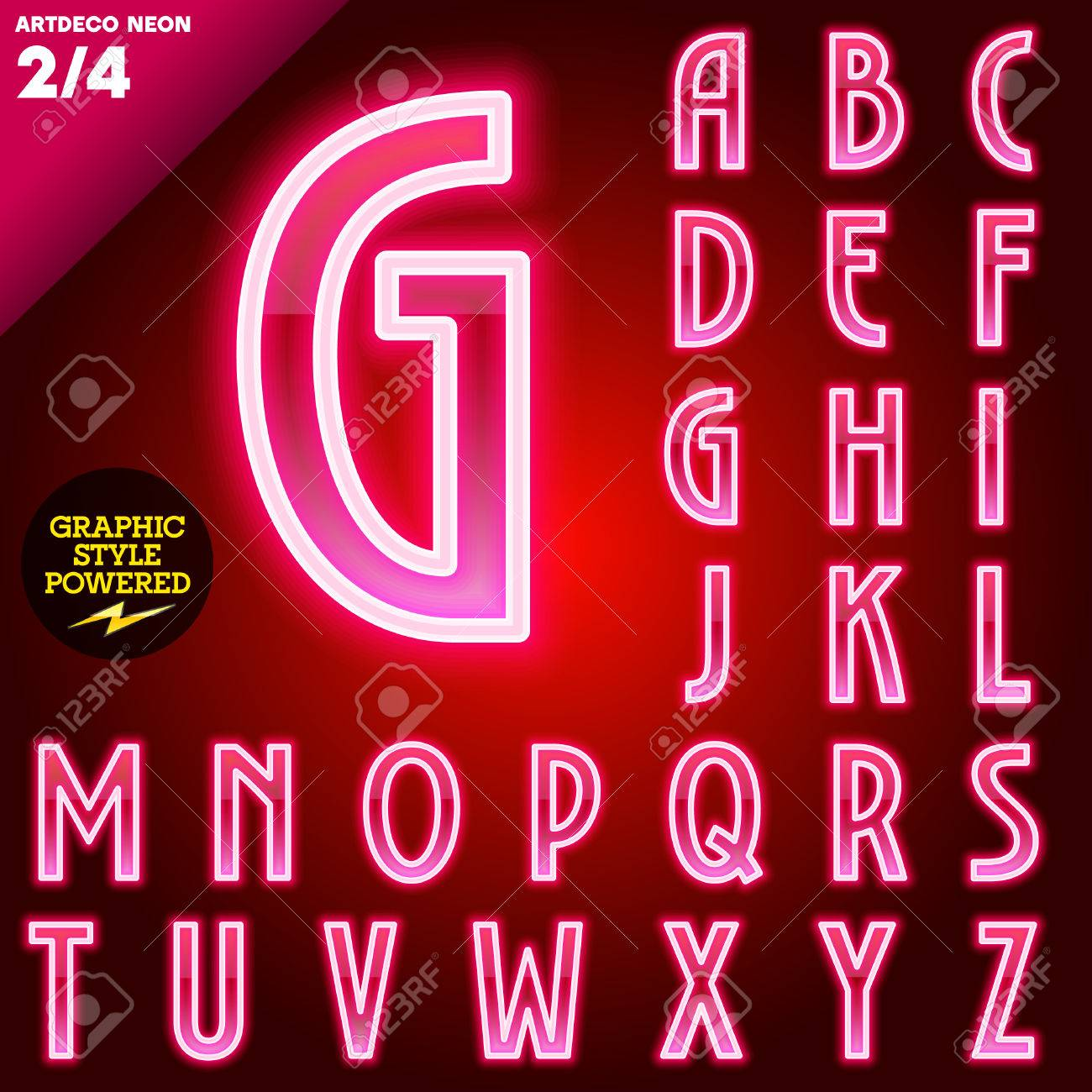 Vector Illustration D Abstrait Alphabet Tube Neon Pour La Pension