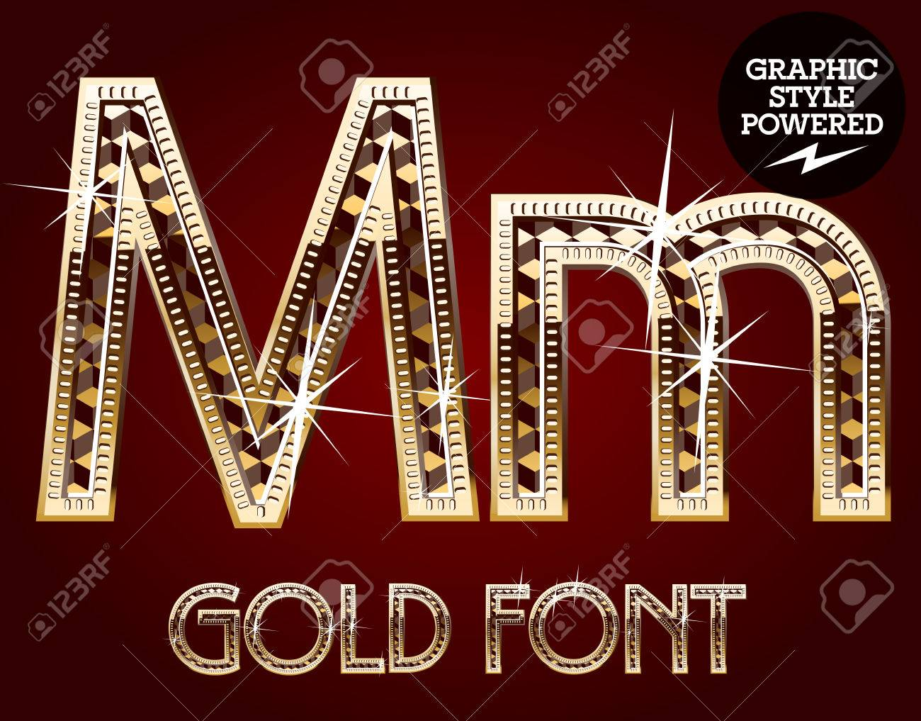 Vector Set Of Gold Rich Alphabet With Diamonds Letter M Royalty