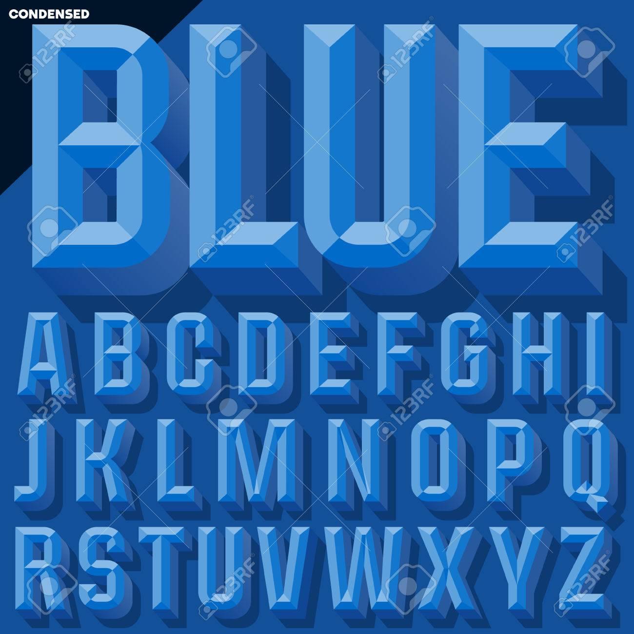 ベクトル 3 D 青い影とベベルの...