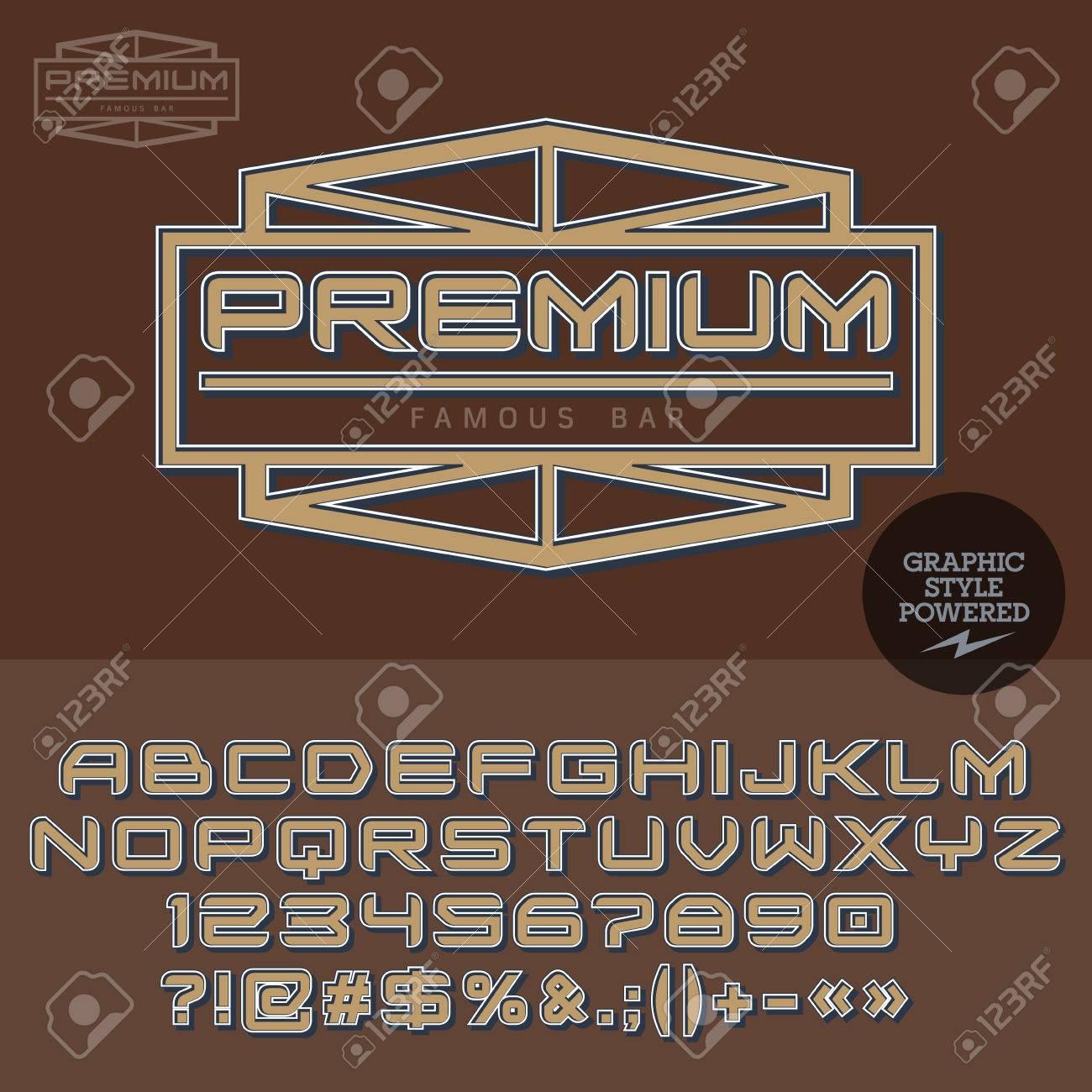 Vintage Logotype For Old Car Dealer. Vector Set Of Letters, Numbers ...