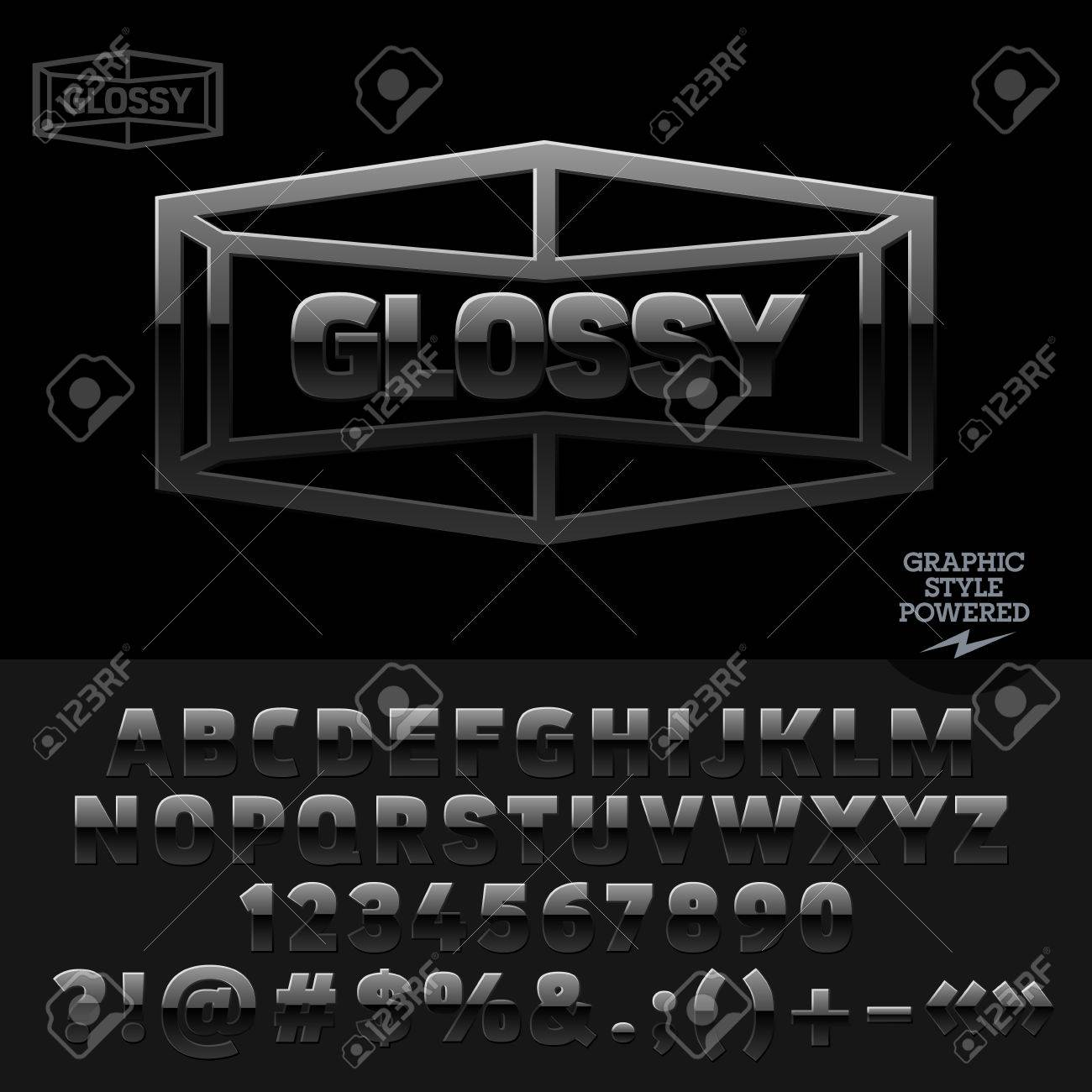 Glossy Black Plastic Emblem For Luxury Car Shop Vector Set Of