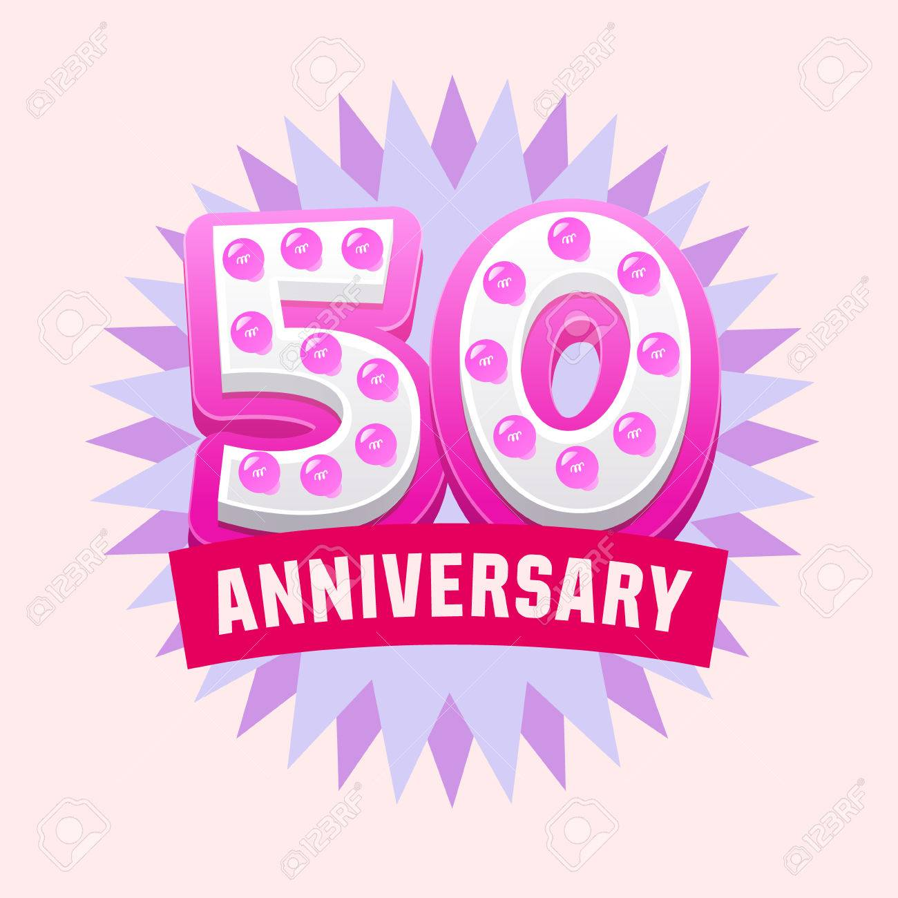 Cute And Bright Vector Greeting 50 Anniversary Card. Gift For ...