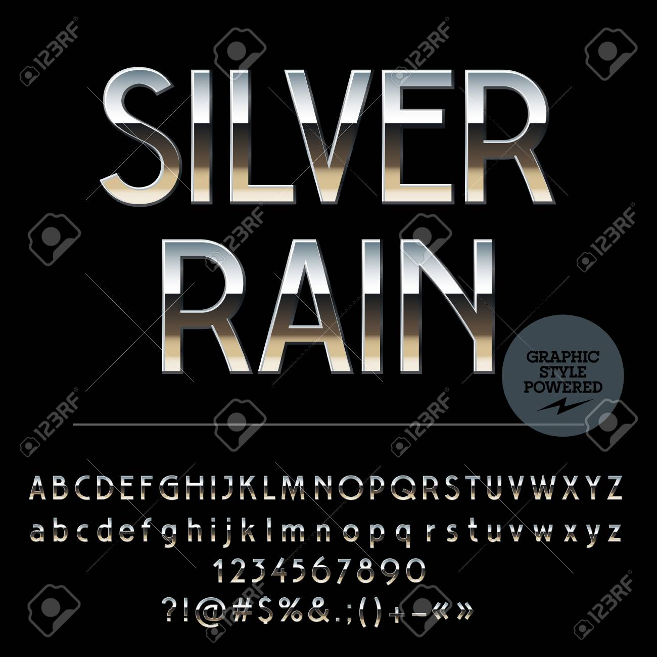 Vector Set Of Shiny Silver Alphabet Letters Numbers And Punctuation