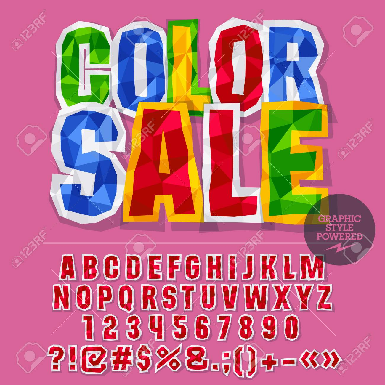 Vector Colorful Crumpled Paper Alphabet Letters, Numbers And ...