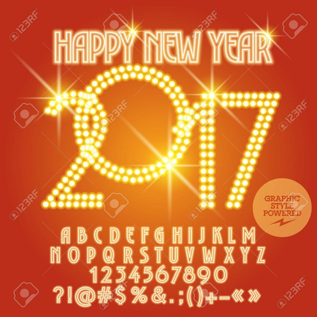 Vector light up happy new year 2017 greeting card with set of vector vector light up happy new year 2017 greeting card with set of letters symbols and numbers file contains graphic styles m4hsunfo